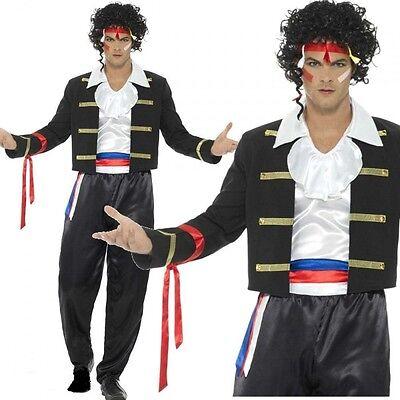 Herren 1980er Neu Romantische Adam Ant Prince Charming Verkleidung Kostüm - Schwarz Adam Kostüm