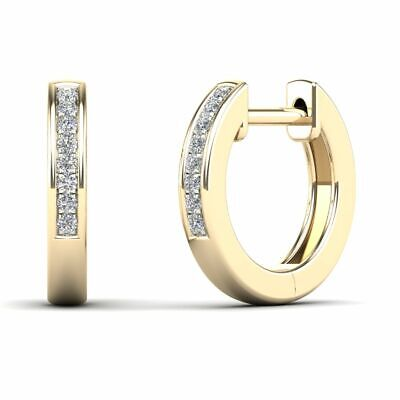 10Kt Yellow Gold 0.05 Ct Genuine Natural Diamond Huggie Hoop Earrings Gold 0.05 Ct Natural