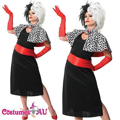 Ladies Cruella De Ville Vil Costume 101 Dalmations Evil Madame Fancy Dress Wigs (101 Dalmations Costume)