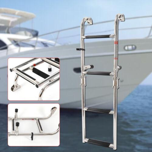 Marine Boat 2 Step Telescoping// Folding Swim Stainless Ladder  Built in Handle