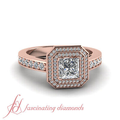 1.10 Ct Rose Gold Double Halo Square Engagement Rings With Pave Set Diamonds GIA