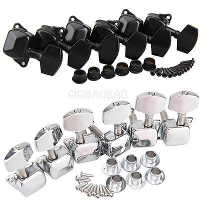 6 Chrome/Black Guitar String Tuning Pegs Tuners Machine Heads Acoustic Electric