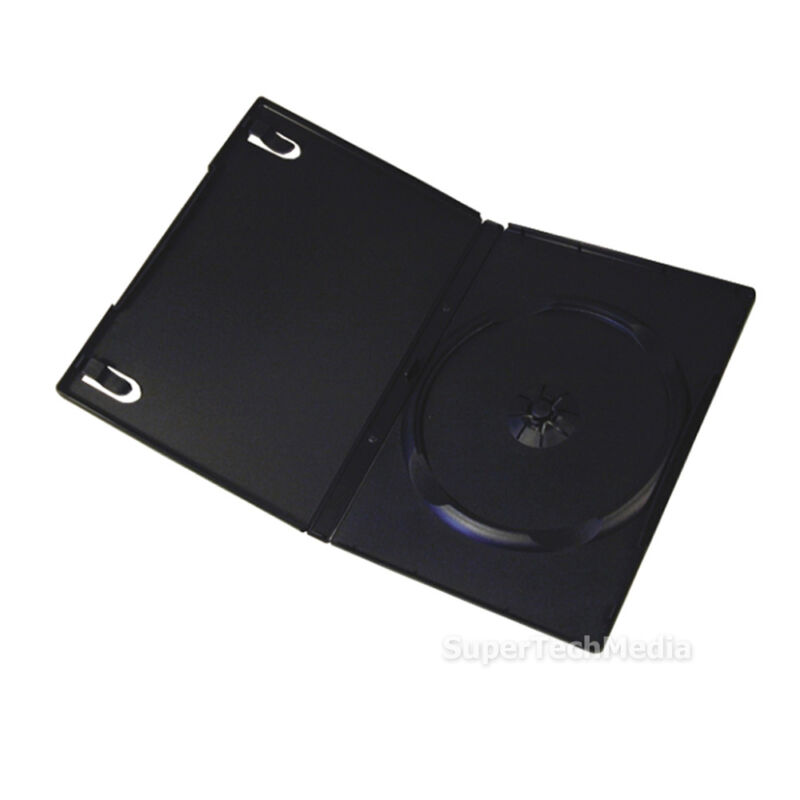 100 Standard 14mm Single CD DVD Disc Black Case Movie Video Box