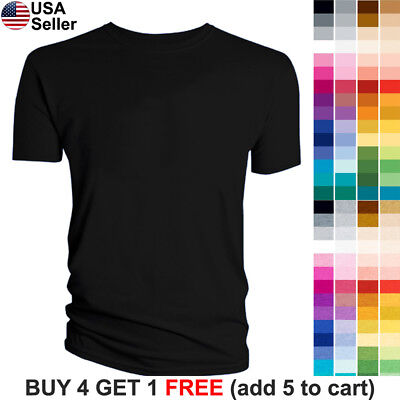 Blank T-Shirt Plain Solid Color Short Sleeve Cotton Crew Neck Men Youth Women