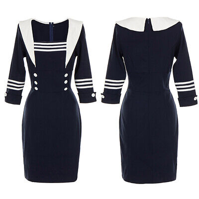 Women Navy Style Vintage Bodycon Dress Ladies Xmas Party Costume Midi Dresses UK