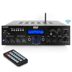 NEW PYLE PDA65BU 200 WATT AMPLIFIER WITH BLUETOOTH AND DUAL MIC INPUTS - GREAT FOR PA/MUSIC SYSTEMS!