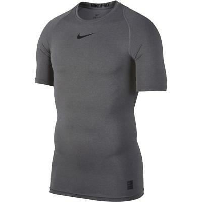 Nike Men's Pro Compression Short Sleeve Training Top 838091-091 Carbon Heather