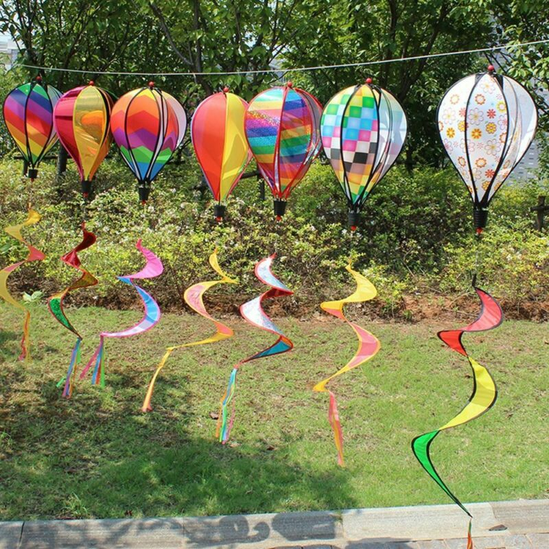 Rainbow Stripe Windsock Hot Air Balloon Wind Spinner Outdoor Garden Yard Decor