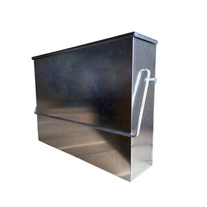 GALVANISED METAL HOT ASH TIDY BOX CONTAINER FIREPLACE PAN BUCKET CARRIER BIN