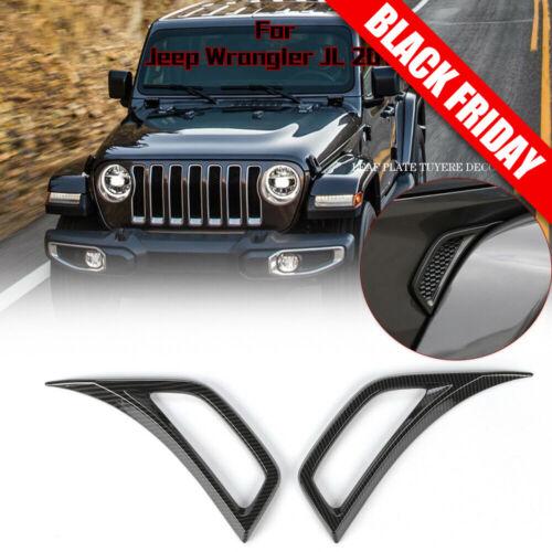 Car Parts - Carbon Fiber Car Leaf plate Air Inlet Trim Cover For 2018 Jeep Wrangler JL Parts