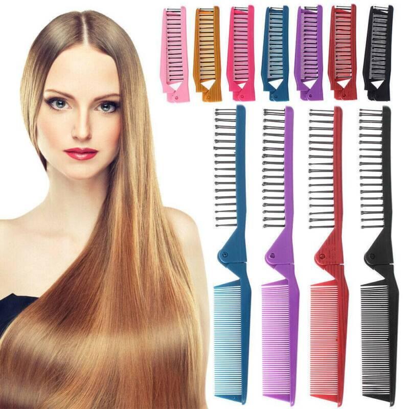 Folding Hair Compact Travel Brush Comb Pocket Size Car Purse