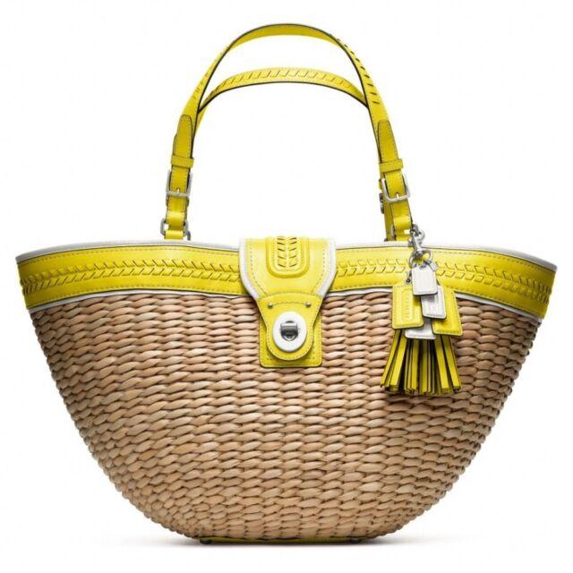 Coach Straw Tote Purse Bag Handbag SHOPPER Lime Green Editorial XL ...