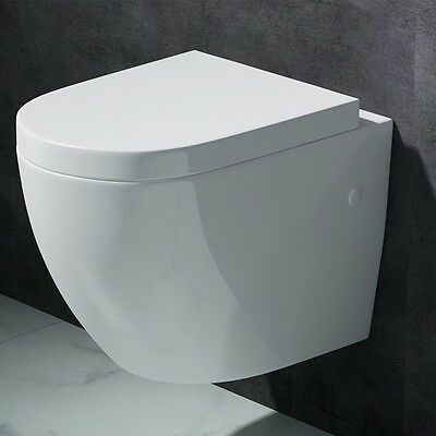 Edle Design Toilette Hänge-WC mit Silent Close Aachen376 weiß Keramik (Toiletten)