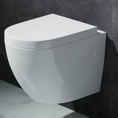 Edle Design Toilette Hänge-WC mit Silent Close Aachen376 weiß Keramik