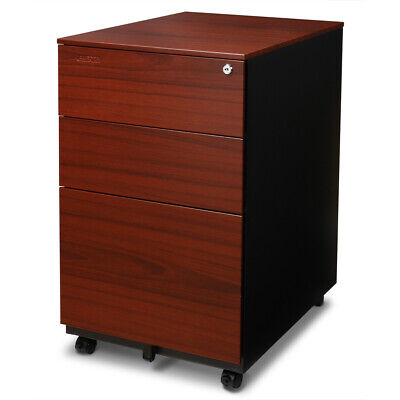 Aurora Fc-103rt Modern Soho Design 3-drawer Metal Mobile File Cabinet Red Teak