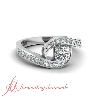1.15 Ct Round Cut Diamond Classic Swirl Engagement Ring Pave Set SI2-D Color GIA