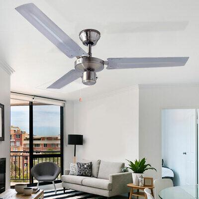 Moderne Silber Deckenventilator (60W Decken Ventilator DESIGN Lüfter Raum-Kühler Chrom Leise 4 Stufen Büro Flur)