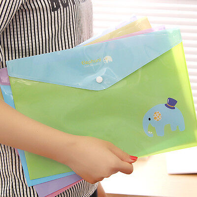 A4 Paper Bags Cute Elephant Transparent File Folders Kits Office School Supplies
