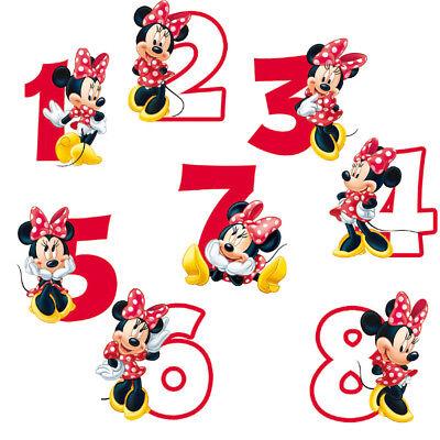 Kerze Minnie Maus Zahl für Kuchen und Tortendeko Geburtstagskerze Partydeko
