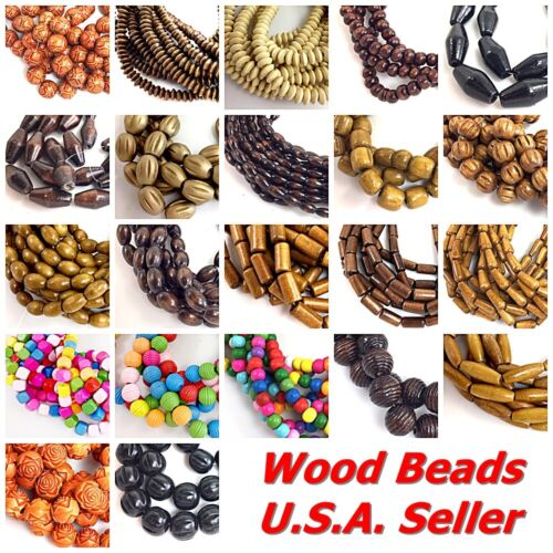 """Natural Wood Rice Drop Rondelle Oval Tube Round Barrel Loose Beads 15"""" Wholesale"""