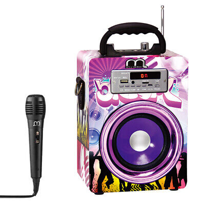 Altavoz Karaoke Portátil Bluetooth Reproductor con Micrófono Radio FM / USB / TF segunda mano  Madrid