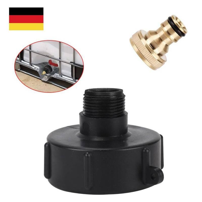 """2tlg 1//2/"""" Oder 3//4/"""" Kunststoff IBC Adapter Regenwasser Anschluss Auslauf Schwarz"""