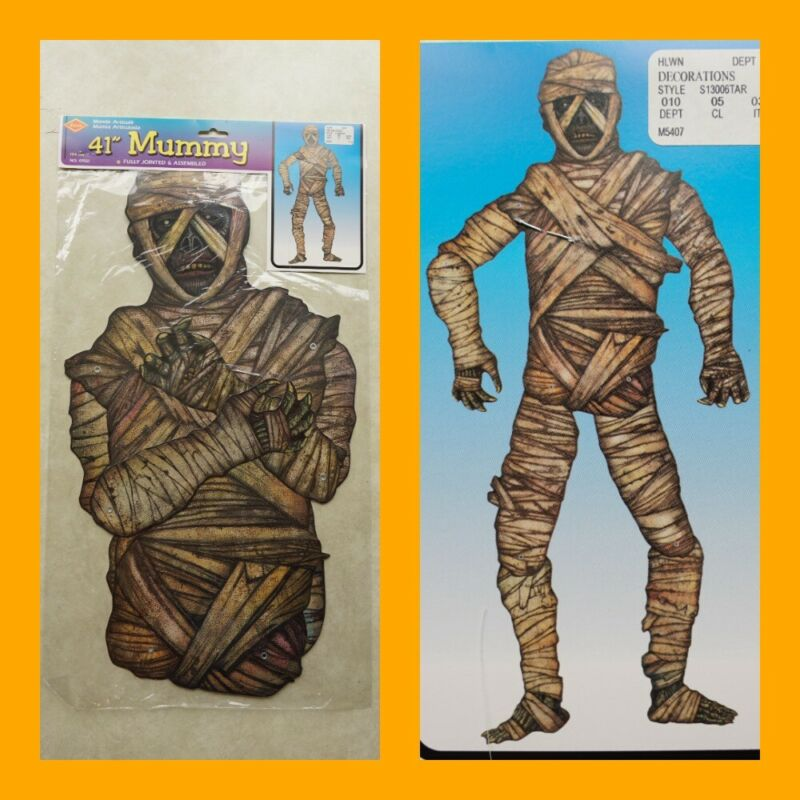 """vintage 90s BEISTLE HALLOWEEN DECORATION 41"""" MUMMY Jointed New Old Stock monster"""