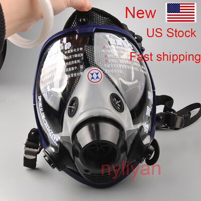 Us Large Lens Silicone Full Face Gas Mask Dust Painting Spraying Respirator