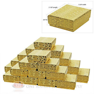 """25 Gold Foil Cotton Filled Jewelry Gift Boxes 2 1/8"""" X 1 5/8"""" Pendant Charm Box"""