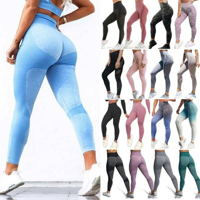 Women High Waist Yoga Leggings Pocket Pants Fitness Sport Gym Workout Athletic G 19