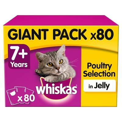80 x 100g Whiskas 7+ Senior Wet Cat Food Pouches Mixed Poultry in Jelly