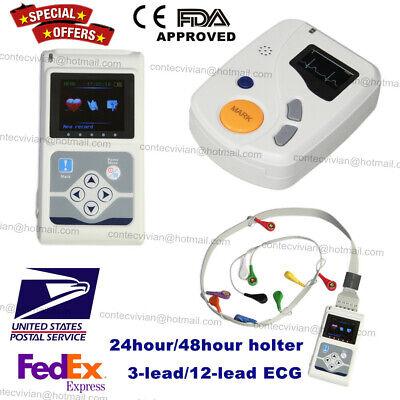 Contec 3 12-lead Holter Ecg Monitor Machine Recorder Analyzer Usb Sync Software