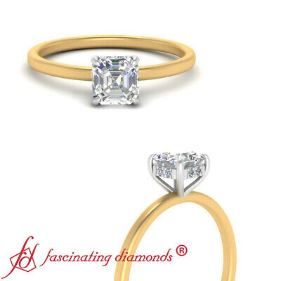 3/4 Carat Asscher Cut Diamond Delicate Shank Hidden Halo Wedding Ring For Women