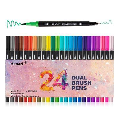Dual Brush Pens Art Marker Fine Tip, Colored Point Calligraphy Bullet Journal