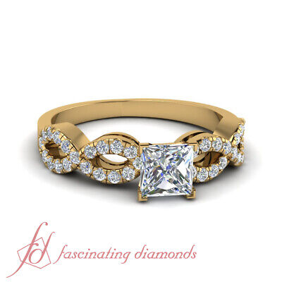 1 Carat Princess Cut Diamond Womens Gold Engagement Ring With Round Accents GIA