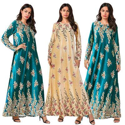 Muslim Women Robes Velvet Abaya Islam Printed Maxi Dress Cocktail Party Dresses