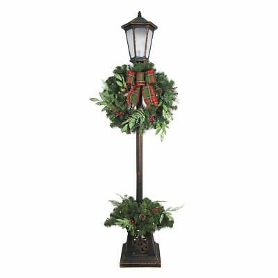 7ft Pre-Lit Woodmoore Artificial Lamp Post with Warm White LED & Pinecones/Berry