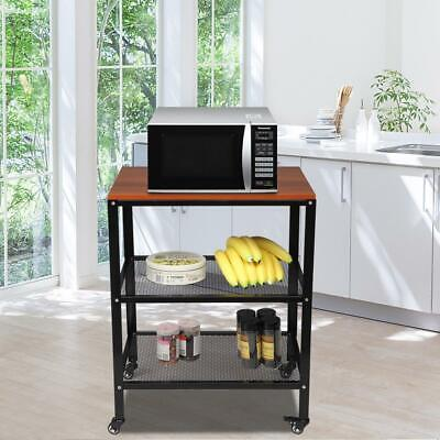 3 Layer Rolling Kitchen Bakers Rack Shelf Microwave Oven Stand Storage Cart