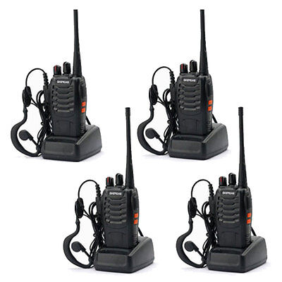 4 * Baofeng 888S Long Range Walkie Talkies 400-470MHZ Two-Way Radio Intercom