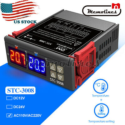 Ac 110-220v Stc-3008 Digital Thermostat Temperature Controller Dual Display