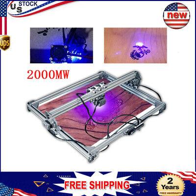 Cnc 2000mw Laser Engraving Machine 2axis Dc 12v Diy Engraver Desktop 50x65cm