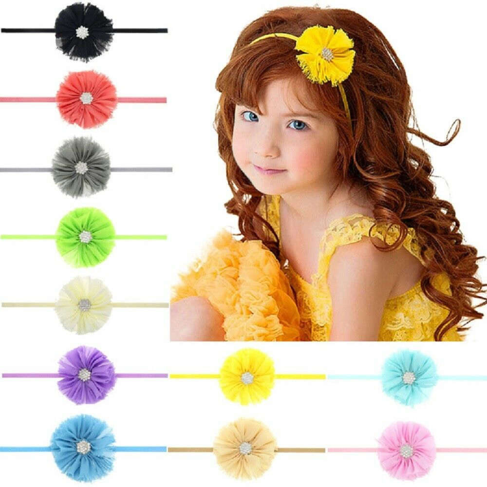 11 Pcs Kids Girl Baby Headband Toddler Lace Bow Flower Hair Band Accessories US Baby