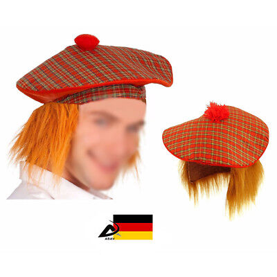 Schottischer Hut mit Haar Fasching Kostüm Schotte Schotten - Schottische Mütze