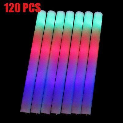 120 PCS Light Up Foam Sticks LED Wands Rally Rave Batons DJ Flashing Glow Stick (Led Foam Sticks)