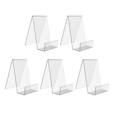 5pcs Acrylic Book Stand Transparent Acrylic Bookshelf Desktop Book Holder