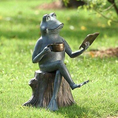 Reading Frog On Tree Stump Metal Garden Sculpture Statue Outdoor Walden Pond Joy