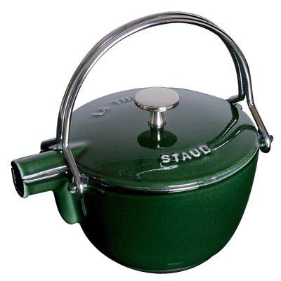 Staub 1650085 1 Quart Cast Iron Round Teapot Tea Kettle, Basil
