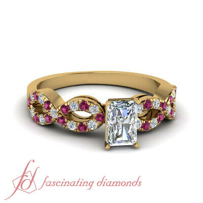 1.25 Carat Radiant Cut Modern Diamond Rings With Round Pink Sapphire Accents GIA