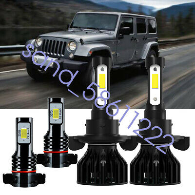 Fit For Jeep Wrangler 2010-2020 LED Headlight Hi/Low Beam + Fog Light 4x Bulbs