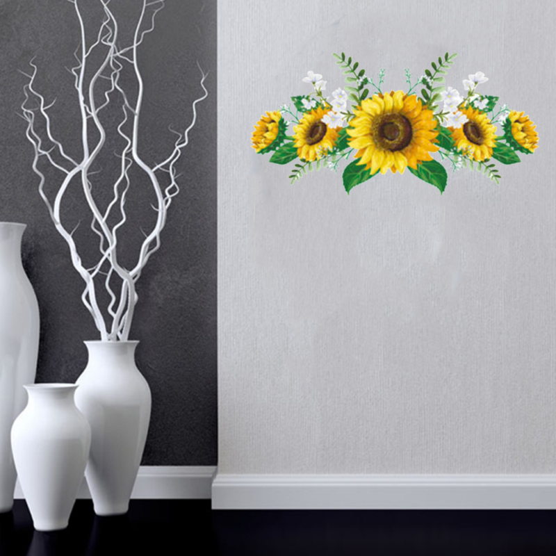 Removable Sunflower Wall Sticker Kitchen Waterproof Decals Home-Decor PVC Parts